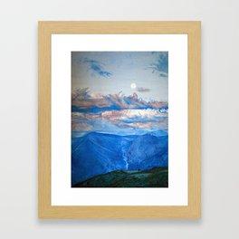 """Oil painting """"Full moon in mountain"""" Framed Art Print"""