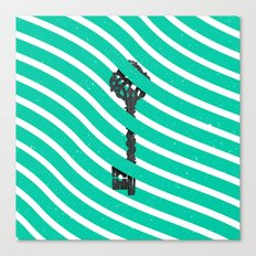 Teal White Zig Zag Stripes Pattern Black Wood Key Canvas Print