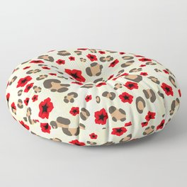 Romantic Leopard Print Pattern with Red Flowers Floor Pillow