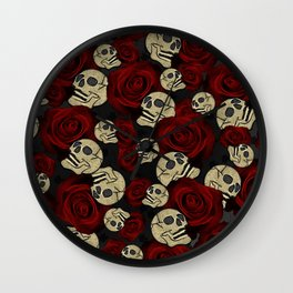 Red Roses & Skulls Grey Black Floral Gothic Wall Clock
