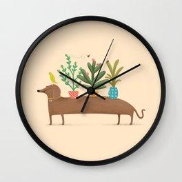 Dachshund & Parrot Wall Clock