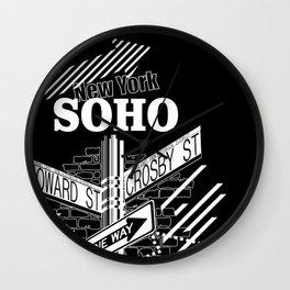 SoHo, New York Streets- white on black Wall Clock
