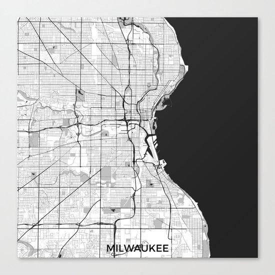 Milwaukee Map Gray Canvas Print