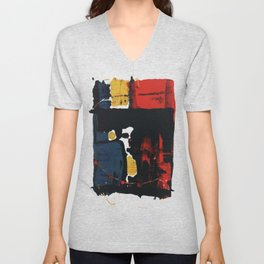 Primary Color Red Yellow Blue Abstract Black Intriguing Figurative Unisex V-Neck