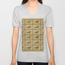 Time Lapse Motion Study Horse muted Unisex V-Neck
