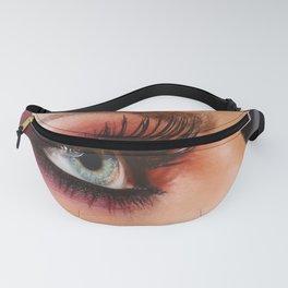 Cosmetics & make-up. Close up woman eye with beautiful shades smokey eyes makeup. Modern fashion Fanny Pack