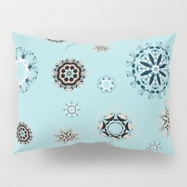 Blue Mandala, Pattern, Digital Design, Shapes Pillow Sham