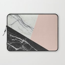 Black and White Marble with Pantone Pale Dogwood Laptop Sleeve
