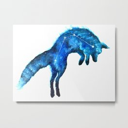 Space Fox | Fox Constellation | Leaping Fox | Double Exposure Fox Metal Print