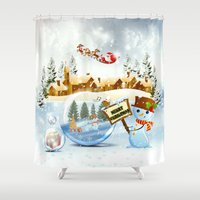 merry christmas Shower Curtains featuring Merry Christmas by Looly Elzayat