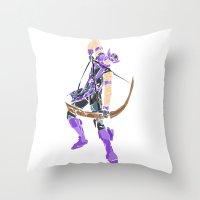 clint barton Throw Pillows featuring Clint Barton by Tegan New