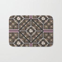 Cherokee Rose Pattern 2 black brown pink Bath Mat