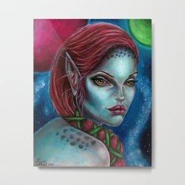 Apocolpyse Alien Girl Fantasy Art by Laurie Leigh Metal Print