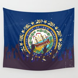 New Hampshire State Flag with Audience Wall Tapestry