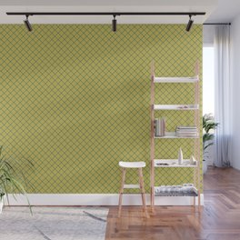 Tropical Dark Teal Angled Line Grid Pattern Inspired by Sherwin Williams 2020 Trending Color Oceanside SW6496 on Dark Yellow Wall Mural
