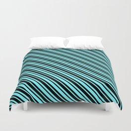 Electric Blue and Black Diagonal LTR Var Size Stripes Duvet Cover