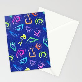 Surf Spiral Shapes in Neon Periwinkle Stationery Cards