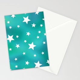 Turquoise and White Star Pattern Stationery Cards