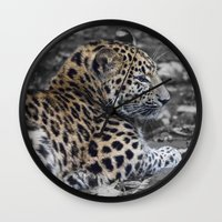 jaguar Wall Clocks featuring Jaguar by Veronika