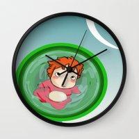 ponyo Wall Clocks featuring Ponyo  by SamIAmTheSam