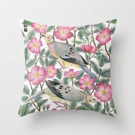 Doves & Wild Roses Throw Pillow