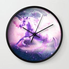 Flying Space Galaxy Unicorn Wall Clock