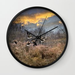 Sunset Geese Landscape Wall Clock