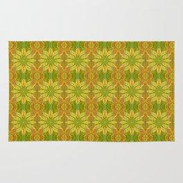 Sun Flower, bohemian floral, yellow, green & orange Rug