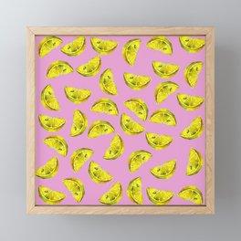 Lemon Slices Pattern Pink Framed Mini Art Print
