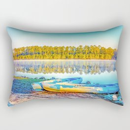 Canoes Lakeside Rectangular Pillow