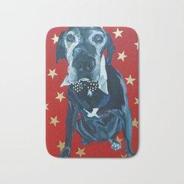 Starry Leonard the Black Lab Dog Portrait Bath Mat