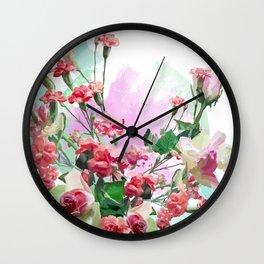 Rosas y claveles Wall Clock