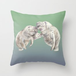 Manatees in love Throw Pillow