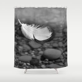 White Feather Floating on Water Shower Curtain