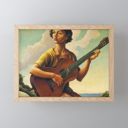 Classical Masterpiece 'Jesse with Guitar' by Thomas Hart Benton Framed Mini Art Print
