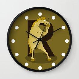 Monogram R Pony Wall Clock