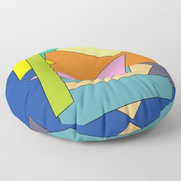 Set of abstract multi-colored geometric shapes on a blue background Floor Pillow