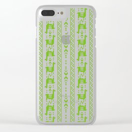 Llamas_Green and WarmGray Clear iPhone Case