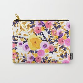Pink purple lavender yellow hand painted watercolor floral Carry-All Pouch