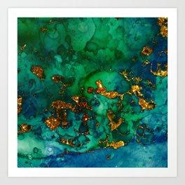 Emerald And Blue Glitter Marble Art Print