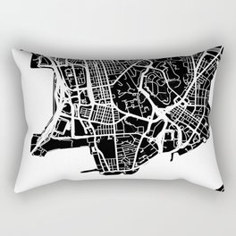 Street MAP Hong Kong // Black&White Rectangular Pillow