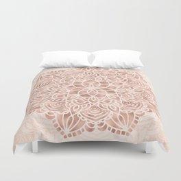 Mandala Seashell Rose Gold Coral Pink Duvet Cover