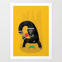 king Art Prints featuring King Kong Ping Pong by Wharton