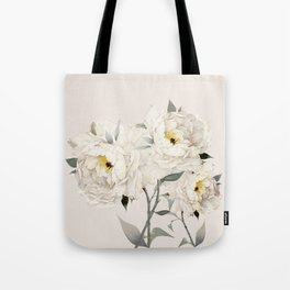 White Peonies Tote Bag