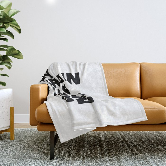 My Brain Has Too Many Tabs Open black-white typographic poster design modern home decor canvas wall Throw Blanket