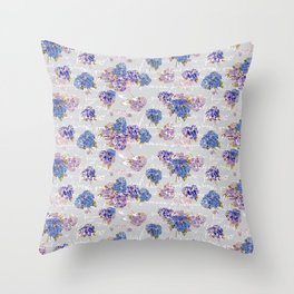 Hydrangeas and French Script with birds on gray background Throw Pillow