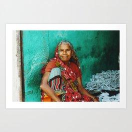 Red woman (Uttar Pradesh, India) Art Print