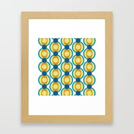 Retro Circle Pattern Mid Century Modern Turquoise Blue and Marigold Framed Art Print