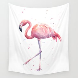 Flamingo Watercolor Pink Bird Wall Tapestry
