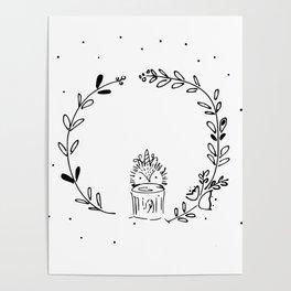 Magical Hedgehog Wreath Poster